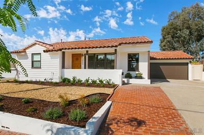 San Diego Single Family Home For Sale: 5004 Waring Rd