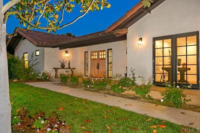 Rancho Santa Fe Single Family Home For Sale: 7337 La Soldadera