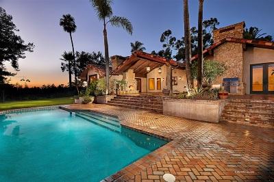 Rancho Santa Fe Single Family Home For Sale: 17140 El Mirador