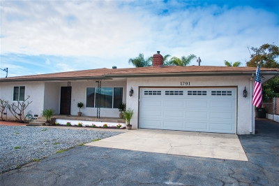Escondido Single Family Home For Sale: 1791 S S Redwood St