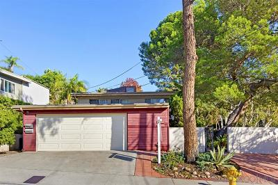 Mission Hills, Mission Hills/Hillcrest, Mission Valley Townhouse For Sale: 3809 Dove St