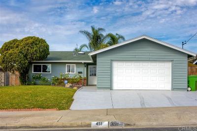 Oceanside Single Family Home For Sale: 451 N Redondo Drive