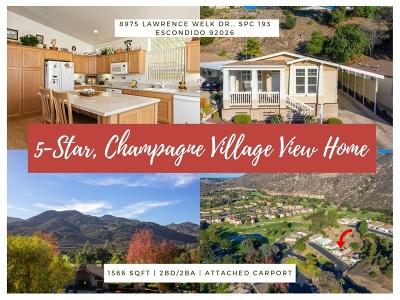Citrus Gardens, Via Verde Estates, Lawrence Welk, Champagne Village, Rancho Escondido Mobile/Manufactured For Sale: 8975 Lawrence Welk Dr #SPC 193