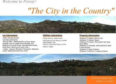 Poway Residential Lots & Land For Sale: Running Deer Trl #4