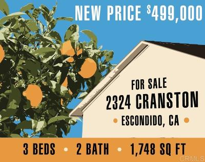 Escondido Single Family Home For Sale: 2324 Cranston Dr