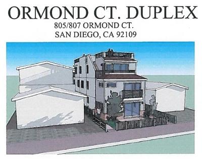 Pacific Beach, Mission Beach Multi Family 2-4 For Sale: 805-807 Ormond