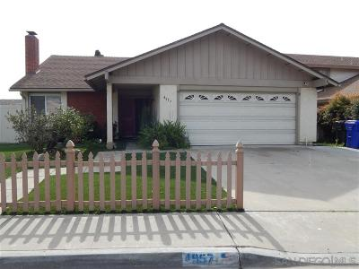 San Diego Single Family Home For Sale: 4957 Perkon Pl