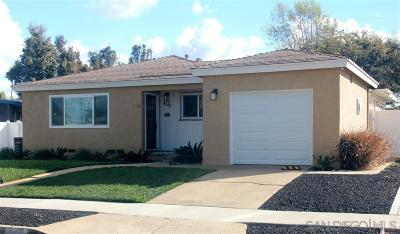 Clairemont, Clairemont East, Clairemont Mesa, Clairemont Mesa East Single Family Home For Sale: 4581 Manitou Way