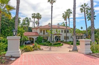 Rancho Santa Fe Single Family Home For Sale: 16591 Via Lago Azul