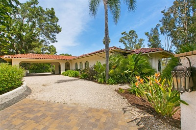 Rancho Santa Fe Single Family Home For Sale: 17501 Los Eucaliptos
