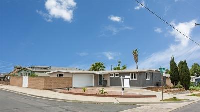 La Mesa Single Family Home For Sale: 5490 Heidi St