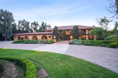 Rancho Santa Fe Single Family Home For Sale: 18220 Via De Fortuna