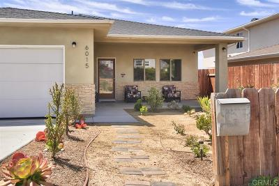 San Diego Single Family Home For Sale: 6015 Edgewater St.