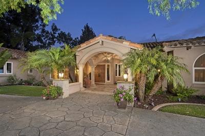 Rancho Santa Fe Single Family Home For Sale: 7233 La Soldadera