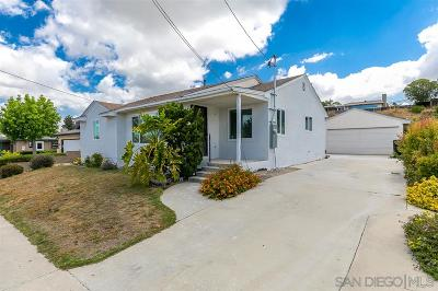 San Diego Single Family Home For Sale: 6851 Clara Lee Ave