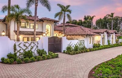 Rancho Santa Fe CA Single Family Home For Sale: $5,295,000