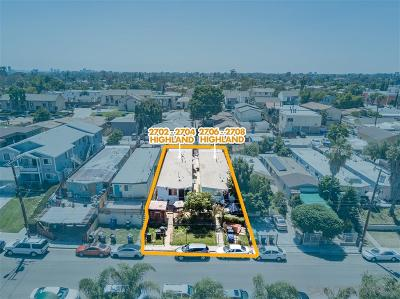 San Diego Multi Family 2-4 For Sale: 2702 Highland Ave