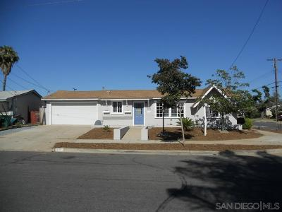 El Cajon Single Family Home For Sale: 599 Nothomb Street