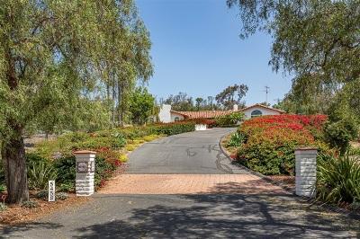 Rancho Santa Fe Single Family Home For Sale: 5458 El Cielito