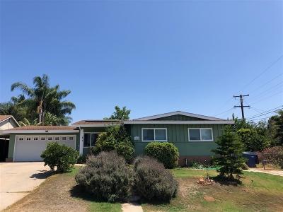 El Cajon Single Family Home For Sale: 1335 Orange Grove Road