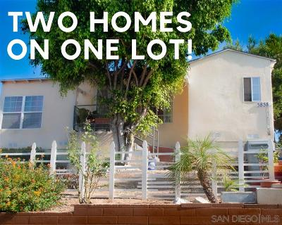 San Diego Single Family Home For Sale: 3836-3838 Franklin Ave