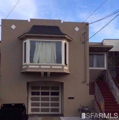 San Francisco County Single Family Home For Sale: 51 Seville St