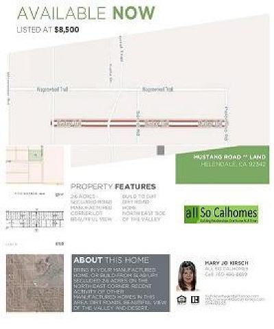 Helendale Residential Lots & Land For Sale: Mustang Road