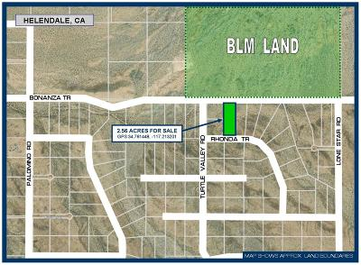 Helendale Residential Lots & Land For Sale: 0 Bonanza Trail