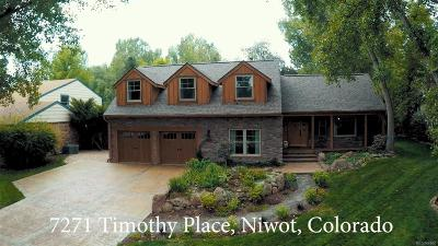 Niwot Single Family Home Under Contract: 7271 Timothy Place