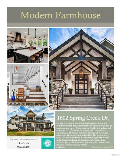 Lafayette Single Family Home Under Contract: 1602 Spring Creek Drive