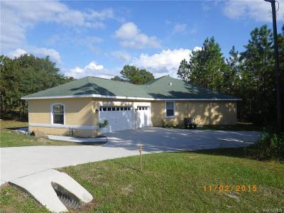 Homosassa Single Family Home For Sale: 821 S Turmeric Path