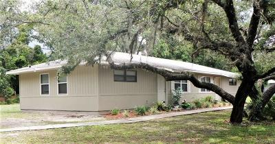 Homosassa, Dunnellon Single Family Home For Sale: 7624 W Homosassa Trail