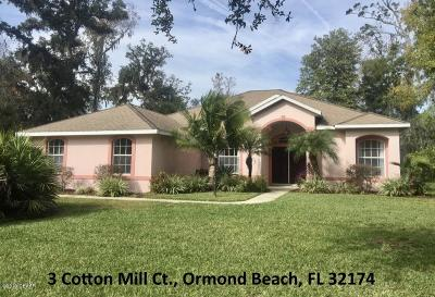 Ormond Lakes Single Family Home For Sale: 3 Cotton Mill Court