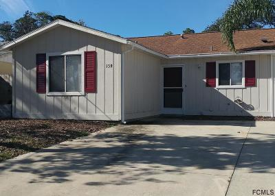Flagler Beach Condo/Townhouse For Sale: 159 Oak Lane