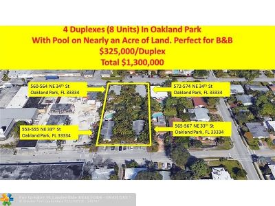 Oakland Park Multi Family Home For Sale: 565 NE 33rd St