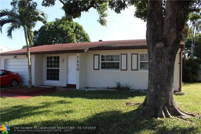 Margate Single Family Home For Sale: 7630 SW 1st St