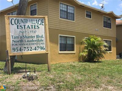 North Lauderdale Condo/Townhouse For Sale: 7625 Tam Oshanter Blvd #102-2