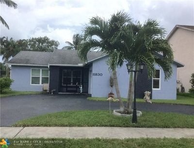 Sunrise Single Family Home For Sale: 11830 NW 42nd St