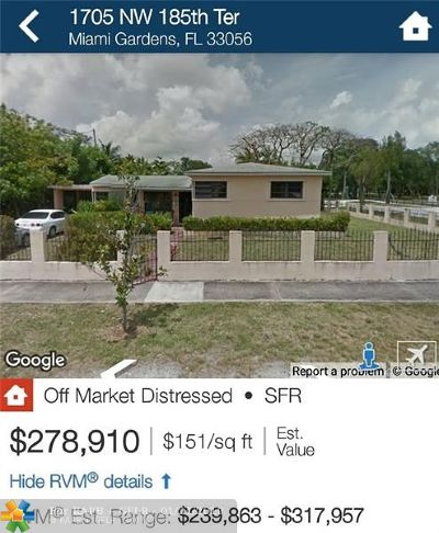 Miami Gardens Single Family Home For Sale: 1705 NW 185th Ter