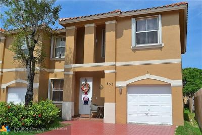 Pembroke Pines Condo/Townhouse For Sale: 833 NW 135th Ave #833