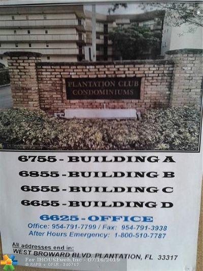 Plantation Condo/Townhouse For Sale: 6555 W Broward Blvd #410
