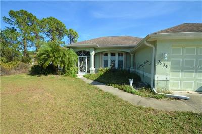 North Port Single Family Home For Sale: 7534 Tasco Drive