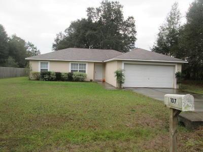 Ocala Single Family Home For Sale: 107 Dogwood Drive Loop
