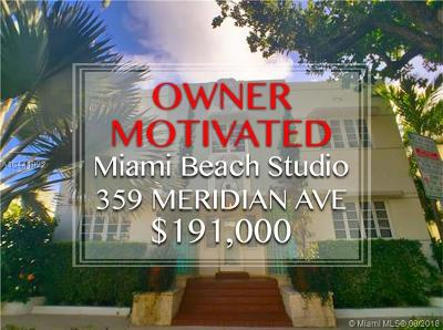 Miami Beach Condo For Sale: 359 Meridian Ave #A-207