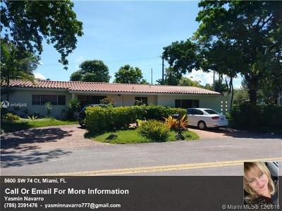 Miami Single Family Home For Sale: 5600 SW 74 Ct