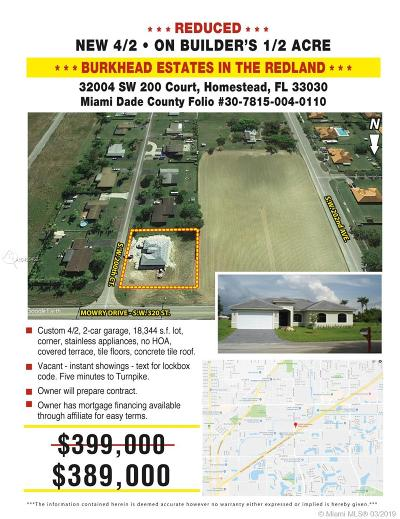 Homestead Single Family Home For Sale: 32004 SW 200 Ct