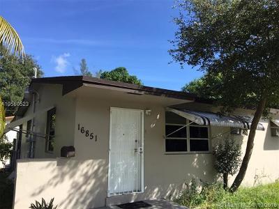 North Miami Beach Single Family Home For Sale: 16851 NE 3rd Ave