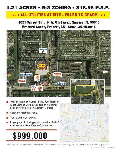 Sunrise Commercial Lots & Land For Sale: 1051 Sunset Strip