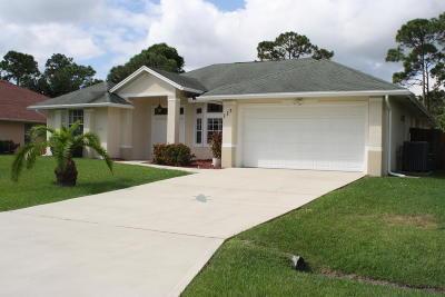 Port Saint Lucie Single Family Home For Sale: 129 SE Fallon Drive