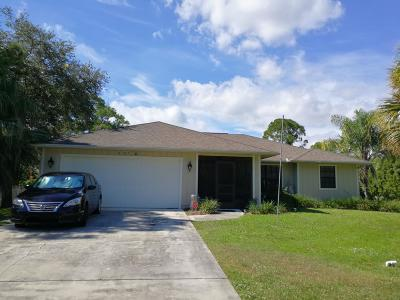 Fort Pierce Single Family Home For Sale: 6107 Bamboo Drive